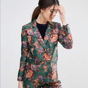 NWOT ASOS green jacquard floral jacket blazer 14